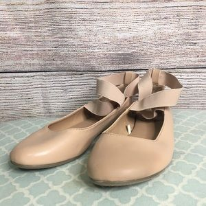 New York & Co ankle wrap nude ballet flat